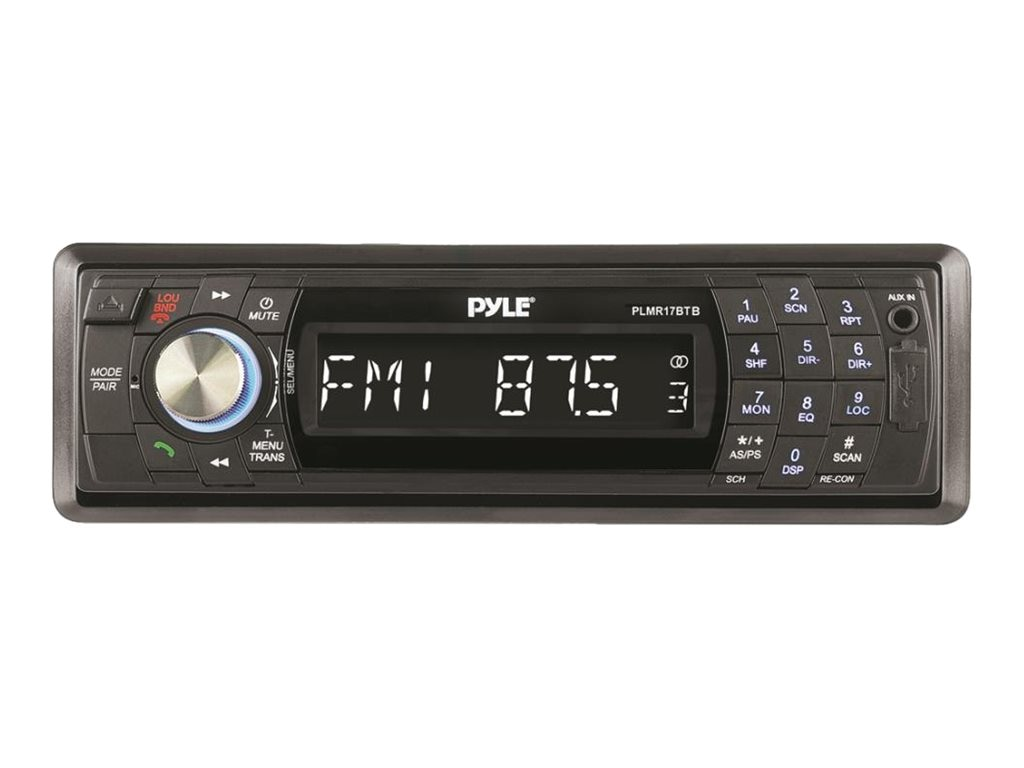 Pyle AM FM-MPX Marine Receiver - Black w  Detachbale Face, SD, MMC, USB Player & BT, PLMR17BTB, 17436185, Stereo Components