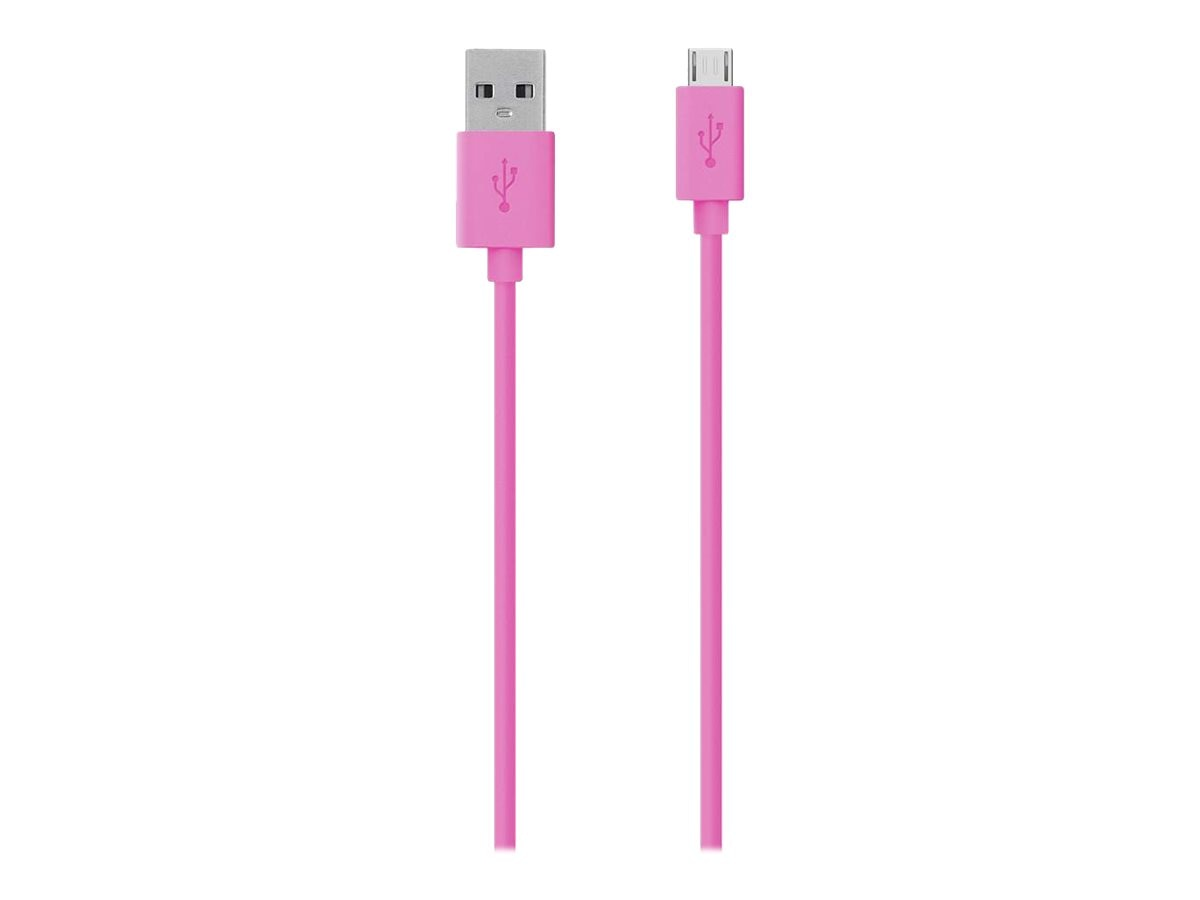 Belkin Micro USB to USB 2.0 Type A M M Cable, Pink, 4ft