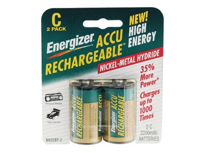 Energizer Battery, NiMH Rechargeable C 2500mAh (2-pack), NH35BP-2