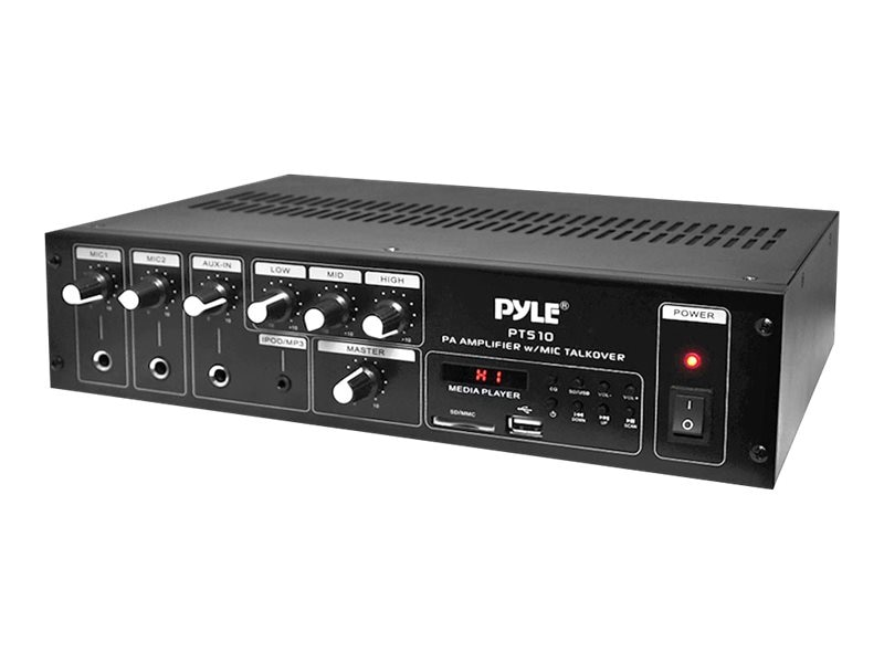 Pyle 240W PA Power Amp w  70V Output & Mic Talkover, PT510