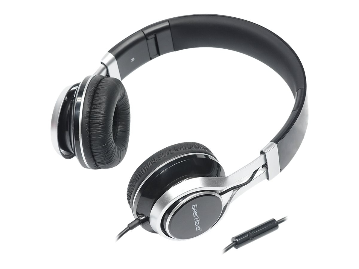 Gear Head Noise Isolating Studio Headphones w  Mic - Black w  Silver Accent
