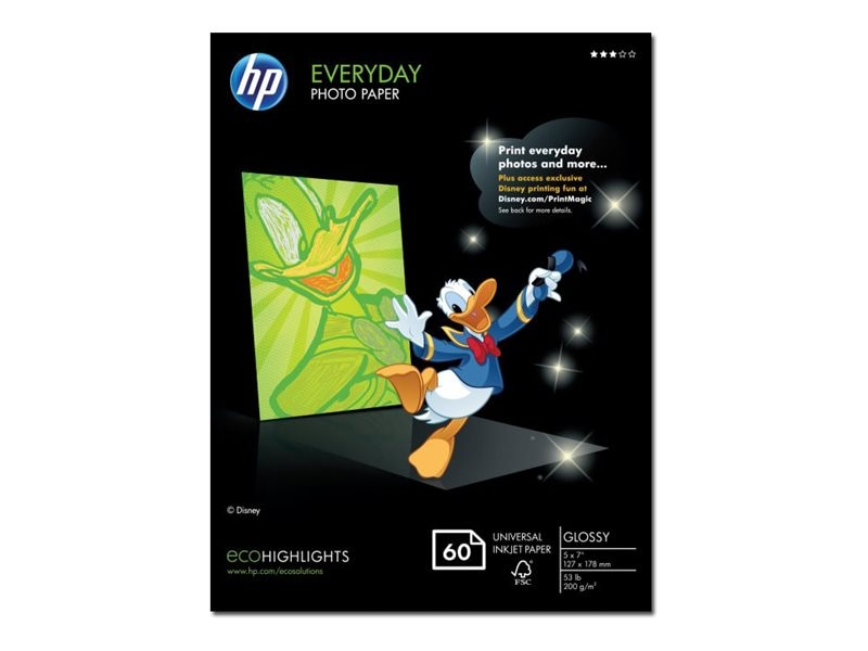 HP 5 x 7 Everyday Glossy Photo Paper (60 Sheets), CH097A