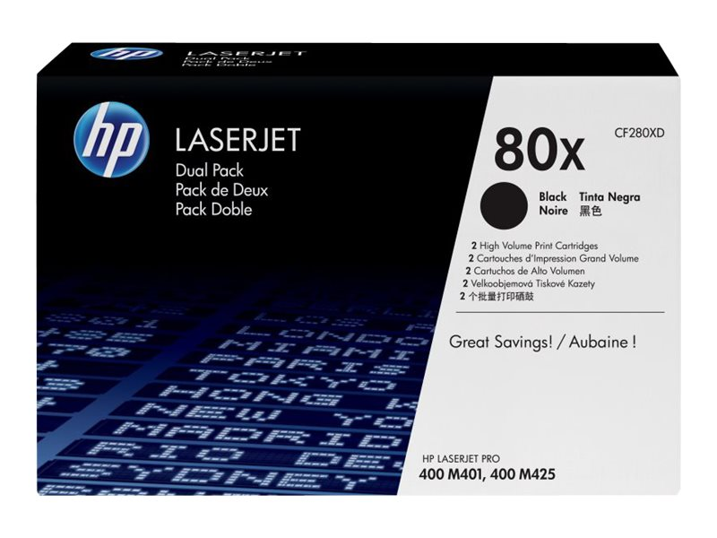 HP 80X (CF280XD) 2-pack High Yield Black Original LaserJet Toner Cartridges for HP LaserJet 400 M401