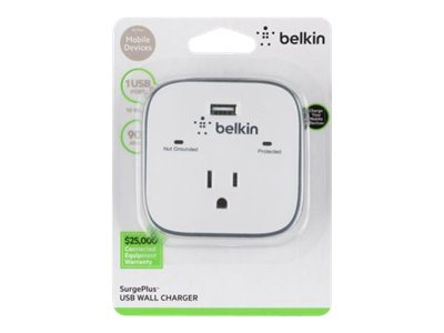 Belkin Single-Outlet Wall Plug Surge Protector 900J w  2.1A USB Charging Port, BSV101BGCW