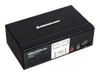 IOGEAR 2-Port KVM USB PS2 Switch with USB 2.0 Hub, Audio and Cables, GCS1802, 8593189, KVM Switches