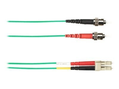 Black Box ST-LC 62.5 125 OM1 Multimode Fiber Optic Cable, Green, 2m, FOCMR62-002M-STLC-GN