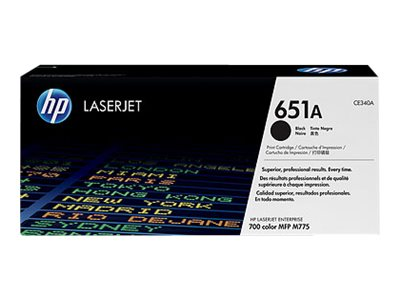 HP 651A (CE340A) Black Original LaserJet Toner Cartridge, CE340A