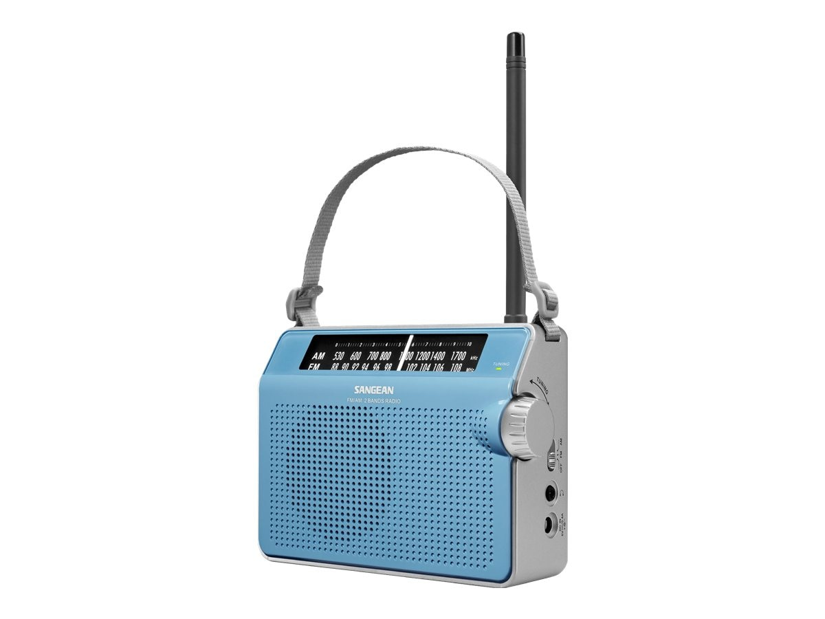 Sangean AM FM Compact Analog Radio with Lighted Display, Blue