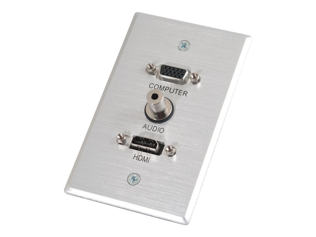 C2G Single Gang HDMI, HD15 VGA, 3.5mm Wall Plate, Brushed Aluminum