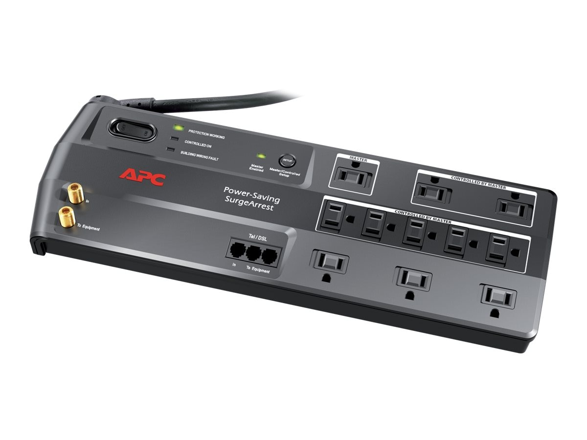 APC Power-Saving Performance SurgeArrest, 11 Outlets with Phone and Video Protection, 120V, P11GTV