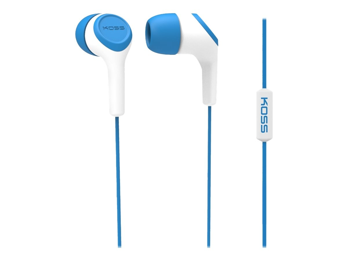 Koss Noise Isolating In-Ear Headphone with In Line Mic, Blue, KEB15IB, 17683848, Headsets (w/ microphone)
