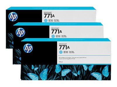 HP 771A 775-ml Light Cyan Designjet Ink Cartridges (3-pack), B6Y44A, 15709274, Ink Cartridges & Ink Refill Kits