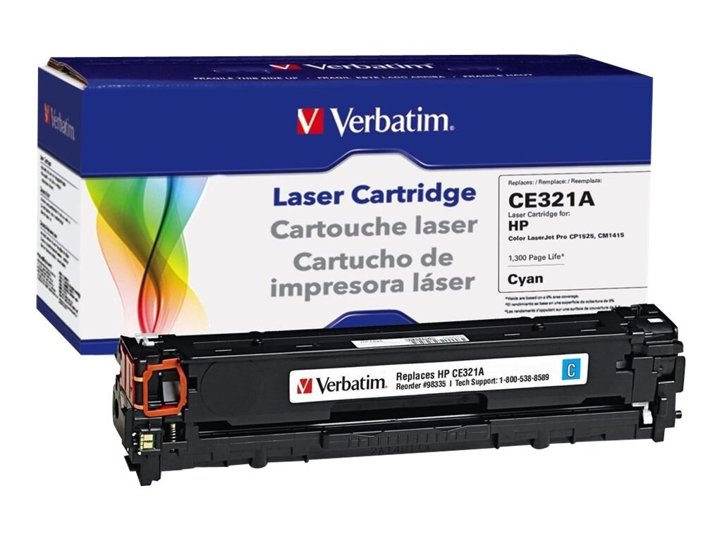 Verbatim CE321A Cyan Toner Cartridge for HP LaserJet CP1525 & CM1415, 98335