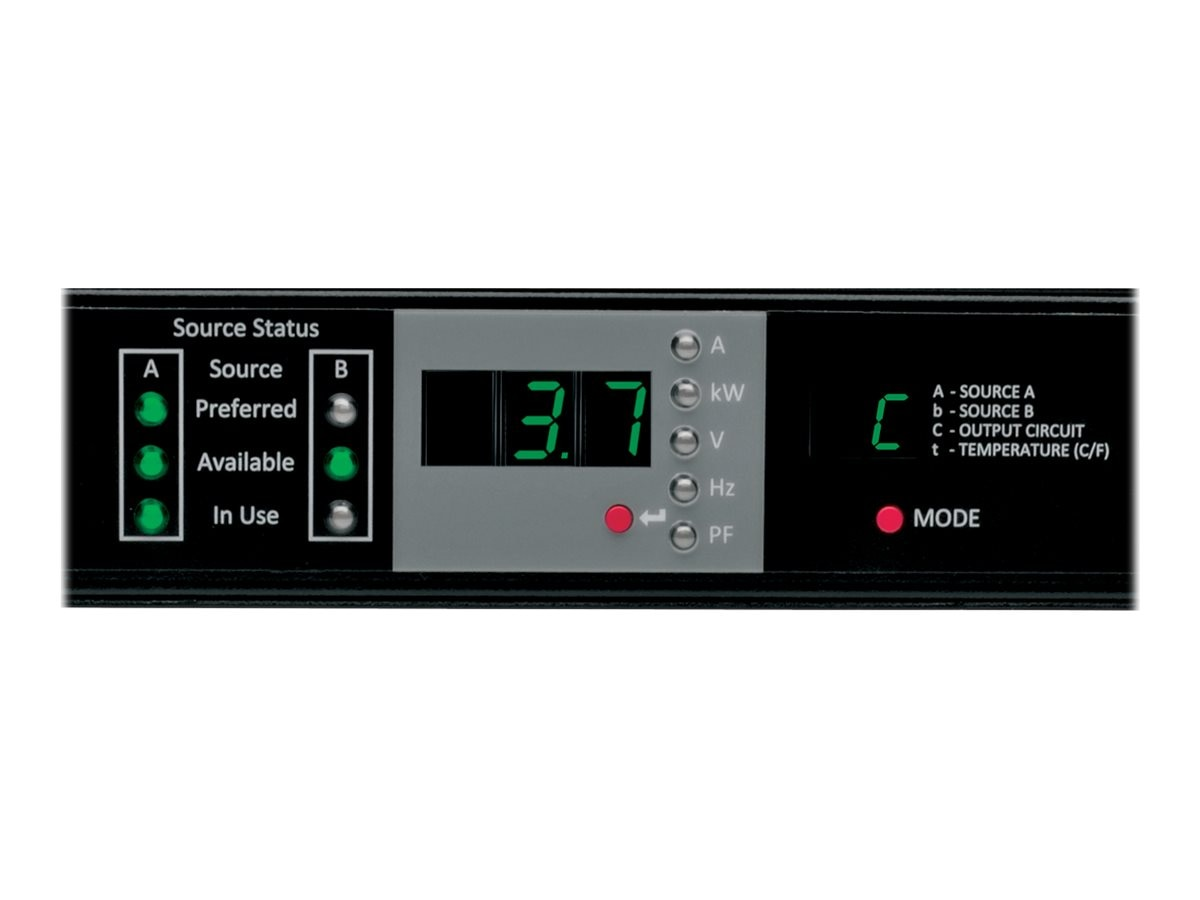 Tripp Lite ATS Monitored PDU, 230V 3.7kW 1-ph, 1U, (2) IEC309 16A Blue Inputs, IEC309 16A Blue Outlet, PDUMNH16HVAT