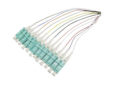 ACP-EP SC-SC 12-Fiber 50 125 OM3 MMF 12-Color Splice Optic Pigtail Cable, 1m, ADD-PT12-1MSC-OM3