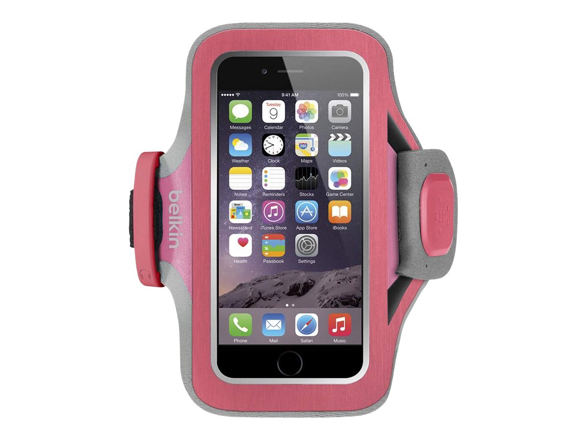 Belkin Slim-Fit Plus Armband for iPhone 6, Fuchsia, F8W499-C01, 18815945, Carrying Cases - Phones/PDAs