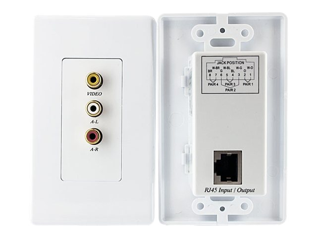 StarTech.com Composite Wall Plate Video Extender over Cat5 with Stereo Audio, COMPUTPWALLA