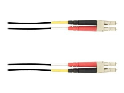 Black Box LC-LC 50 125 OM3 Multimode Duplex Fiber Cable, Black, 15m
