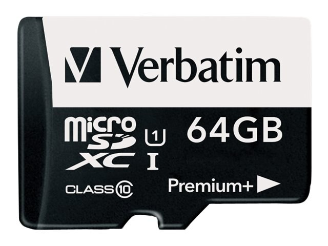 Verbatim 64GB Premium+ 533X MicroSDXC Flash Memory Card with SD Adapter, Class 10, 98742, 30904941, Memory - Flash