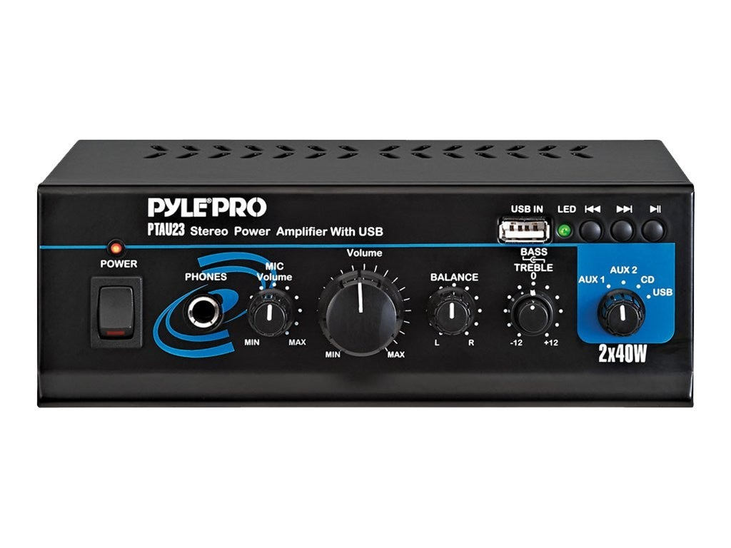 Pyle Mini 2x40 Watt Stereo Power Amplifier with USB AUX Inputs, PTAU23