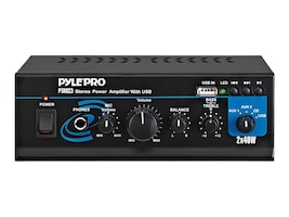 Pyle Mini 2x40 Watt Stereo Power Amplifier with USB AUX Inputs, PTAU23, 11862052, Stereo Components