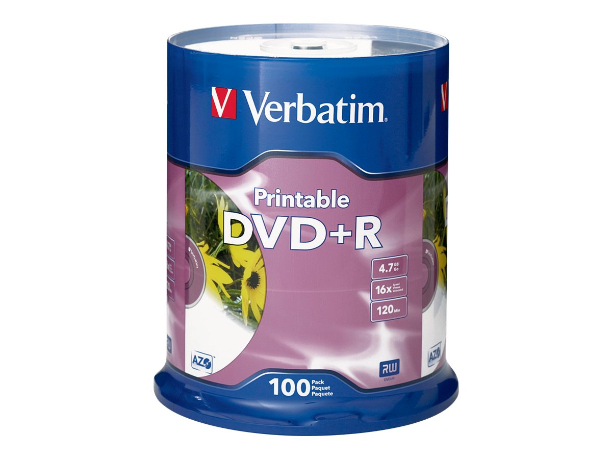 Verbatim 16x 4.7GB DVD+R White Inkjet Printable DVD+R Media (100-pack Spindle), 95145, 5994278, DVD Media