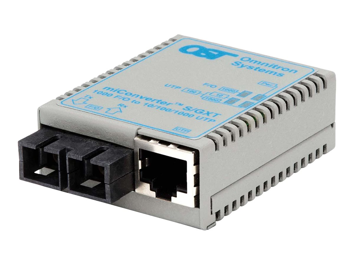 Omnitron MiConverter S GXT 10 100 1000BT RJ45 1000B-SX SC MM 850NM 220 550M AC, 1622-0-1, 13225145, Network Transceivers
