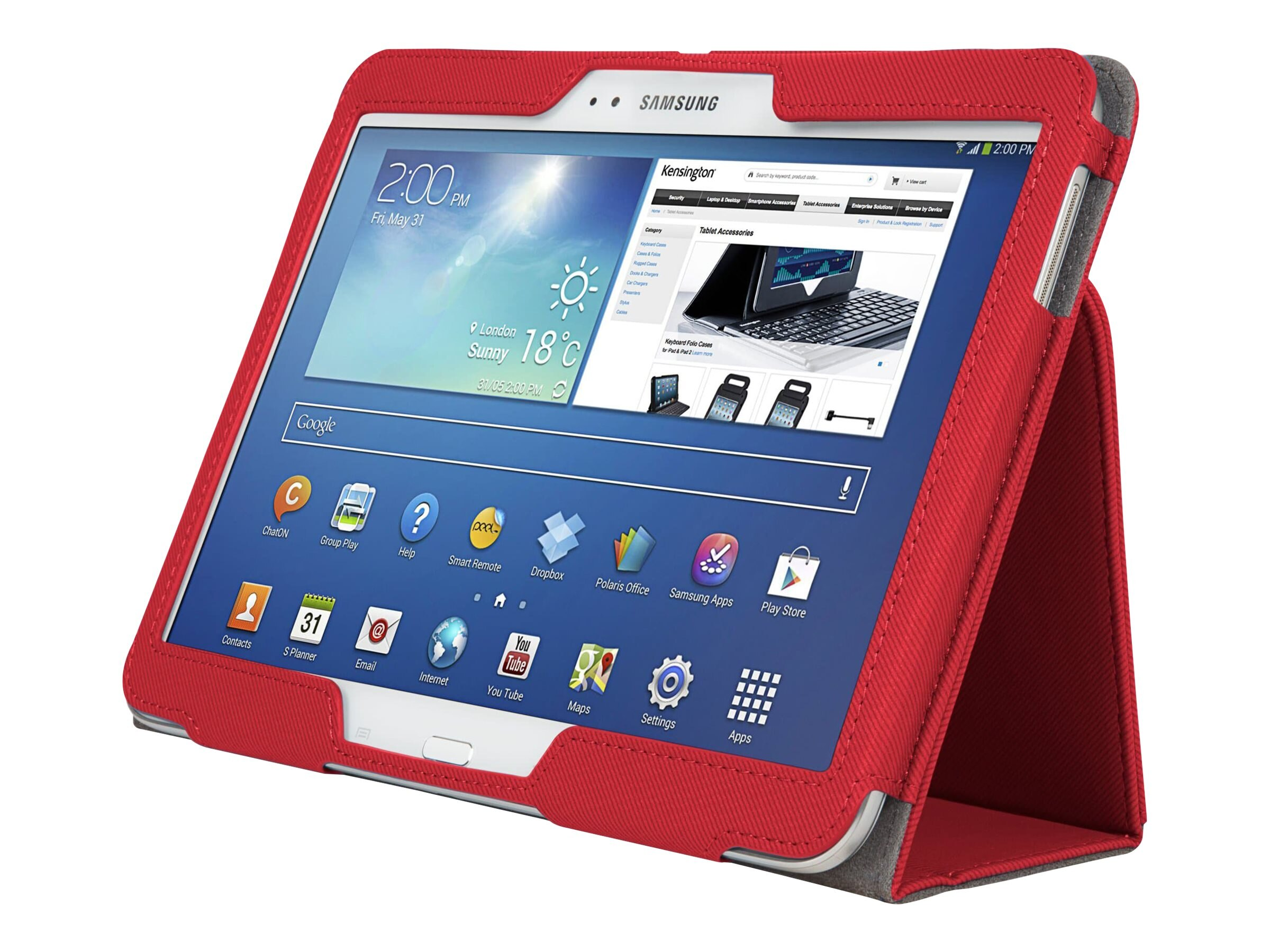 Kensington Comercio Soft Folio Case & Stand for Galaxy Tab 3 10.1, Red