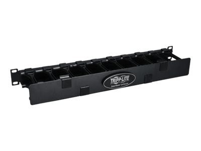 Tripp Lite High Capacity Horizontal Cable Manager Finger Duct with Dual-hinge Cover, 1U x 19, Black