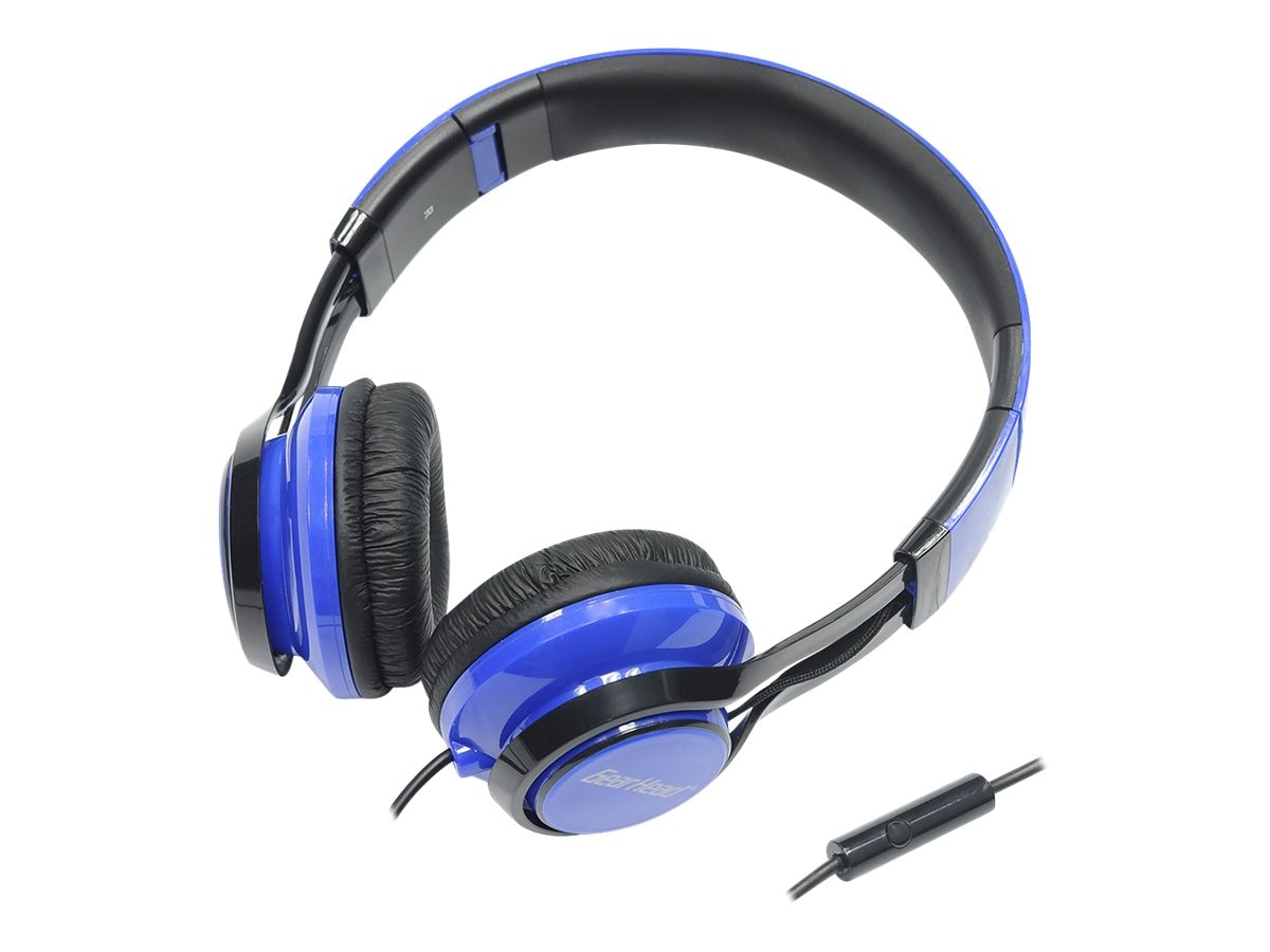 Gear Head Noise Isolating Studio Headphones w  Mic - Black w  Blue Accent, HS3500BLU