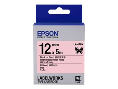 Epson 1 2 LabelWorks Ribbon LK Cartridge - Black on Pink, LK-4PBK