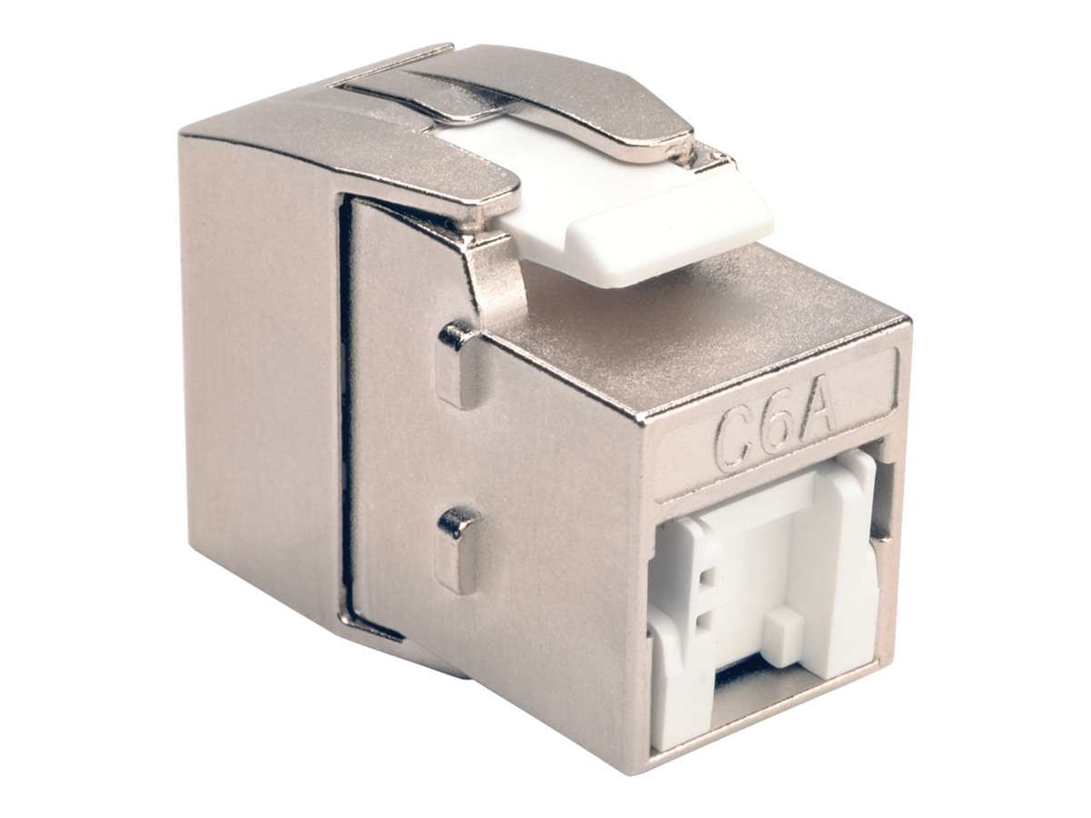 Tripp Lite CAT6A RJ45 110 Type Toolless 180-Degree Shielded Keystone Jack, Gray, TAA GSA