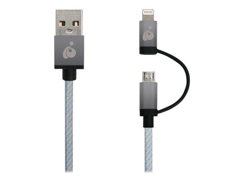 IOGEAR DuoLinq 2-in-1 USB to Micro USB Lightning Charge & Sync Cable, Space Gray, 1m, GUML01-SG