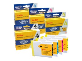 Kodak LC51COMBO Black, Cyan, Magenta & Yellow Ink Pack for Brother DCP, LC51COMBO-KD, 31397899, Ink Cartridges & Ink Refill Kits