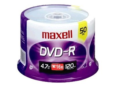 Maxell 16x 4.7GB DVD-R Media (50-pack Spindle), 638011, 6703719, DVD Media