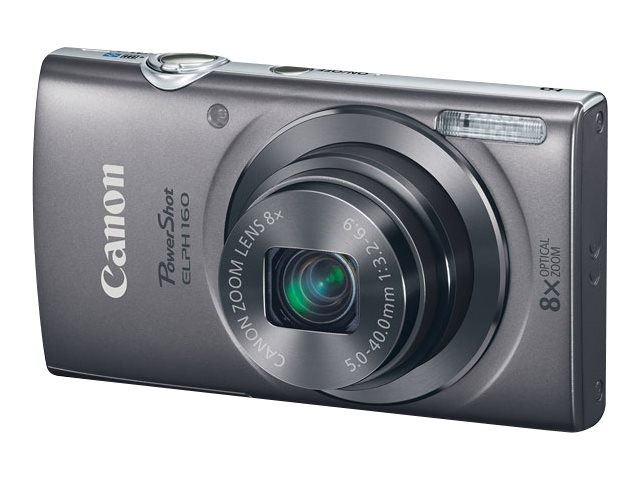 Canon PowerShot ELPH 160 Camera, 20MP, 8x Zoom, Silver, 0137C001, 18524355, Cameras - Digital - Point & Shoot