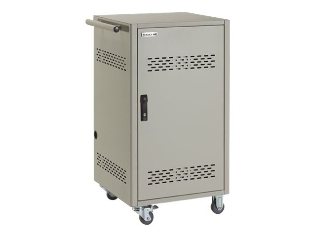 Black Box 30-Device iPad, Chromebook, Tablet and Laptop Cart w  Steel Top, Fixed Shelves & Hinged Doors