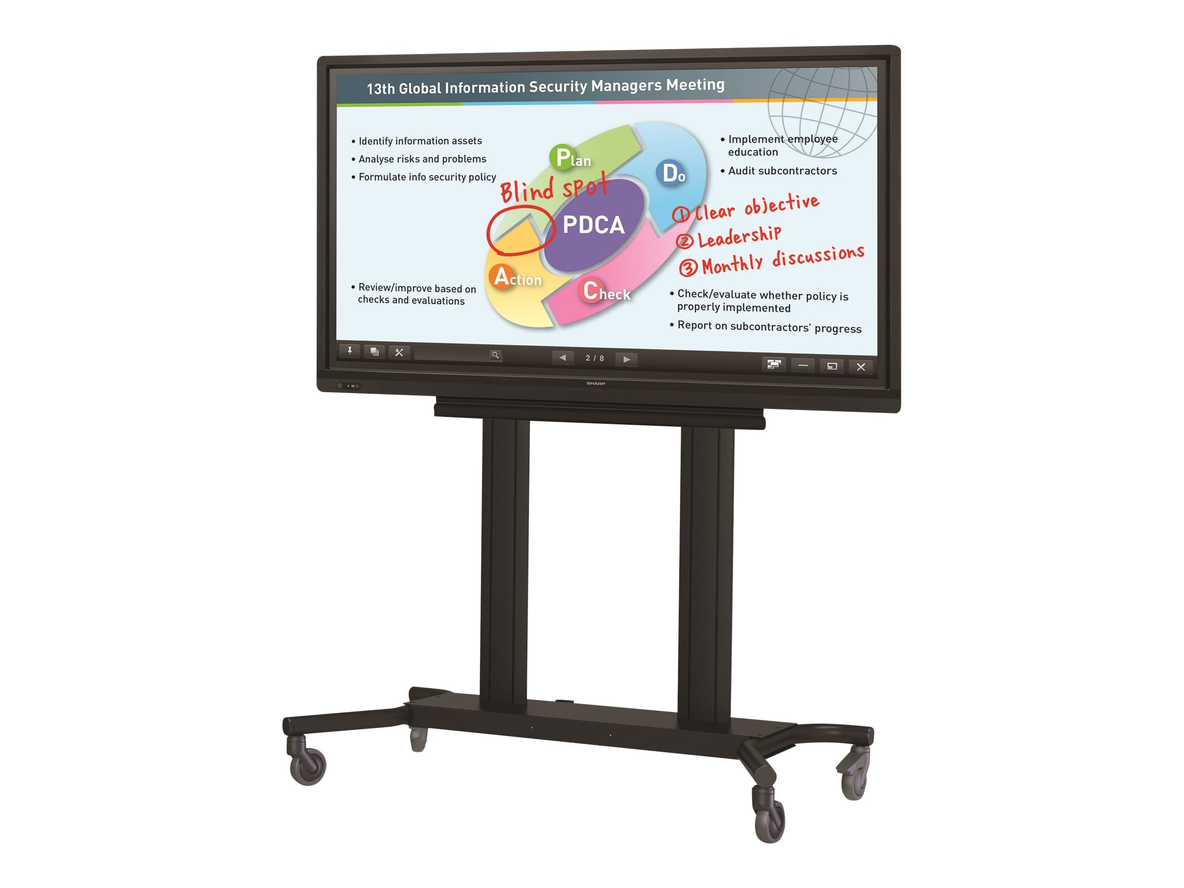 Sharp 70 PN-L703B Full HD LED-LCD Touchscreen Monitor with Rolling Cart and Shuttle PC, PN-L703BPKG2, 18953150, Monitors - Large-Format LED-LCD
