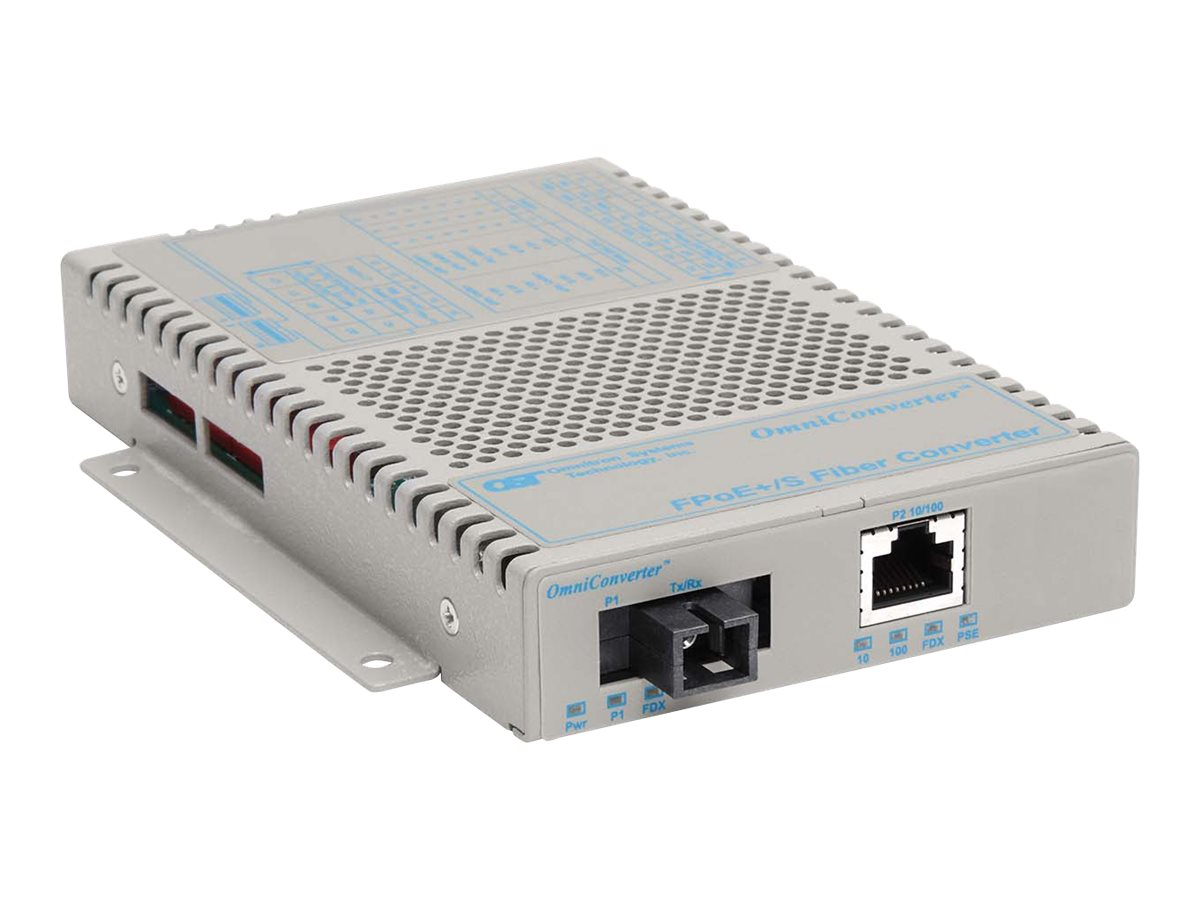 Omnitron OmniConverter FPOE+ S 1x10 100T to 100FX SC SM-SF 13 15 20KM US AC, 9330-1-11, 11838298, Network Transceivers