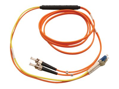 Tripp Lite ST-LC Mode Fiber Conditioning Patch Cable, Orange, 3m, N422-03M, 7485881, Cables