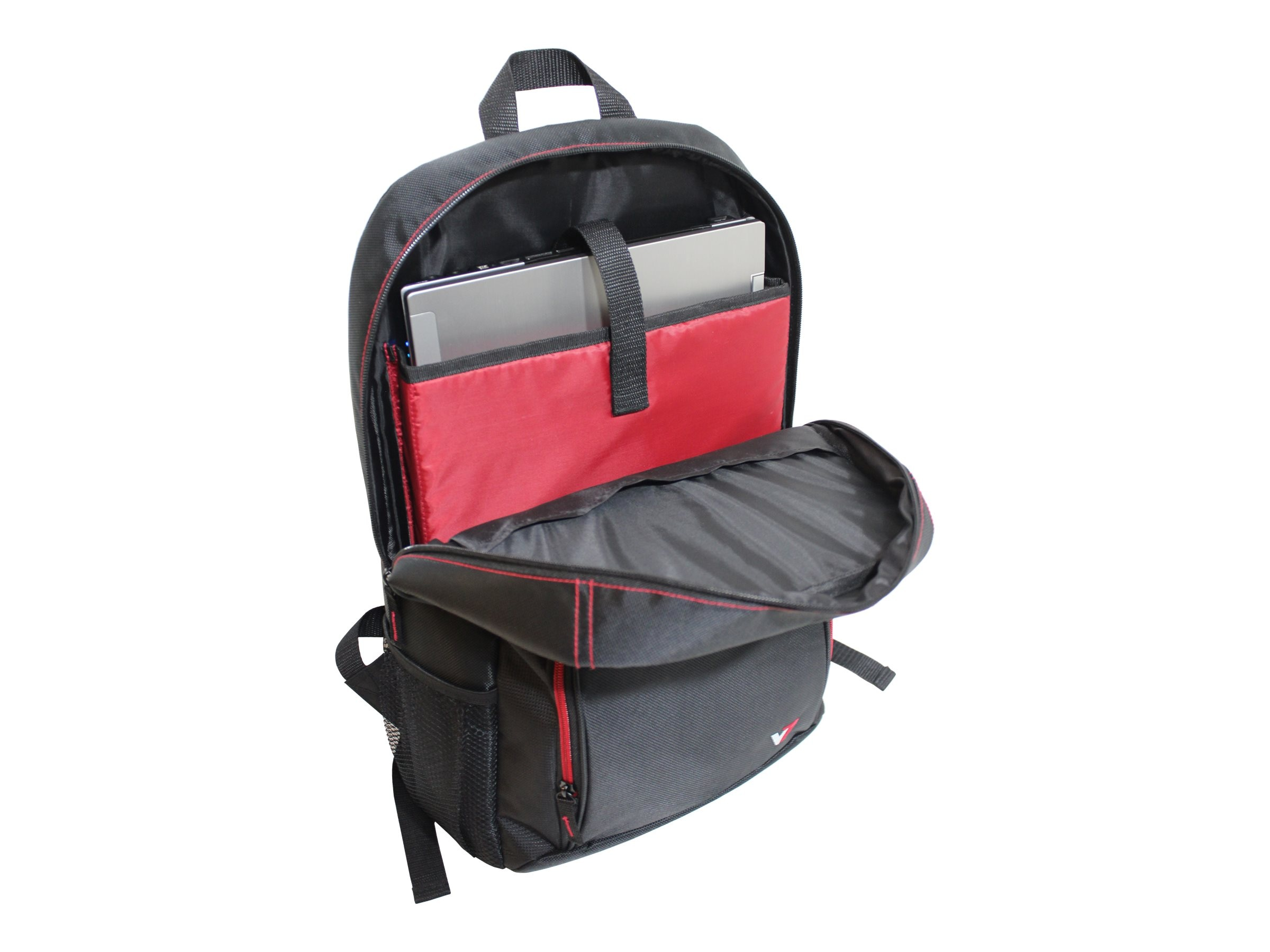 V7 Vantage 2 Backpack for 16.1 Laptop, Black w  Red Trim, CBV21RT-9N
