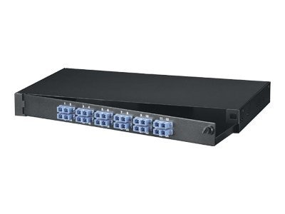 Black Box Rackmount Fiber Panel, 1U, Loaded with (24) Single-Mode Multimode Connectors, SC, 12 Duplex Pairs, JPM375A-R2