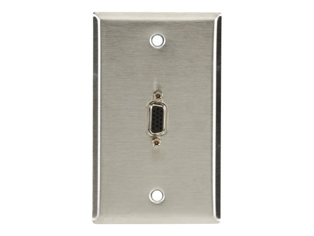 Black Box Stainless Steel Wallplate with HD15 F-F Adapter, Single-Gang, WPVGA03