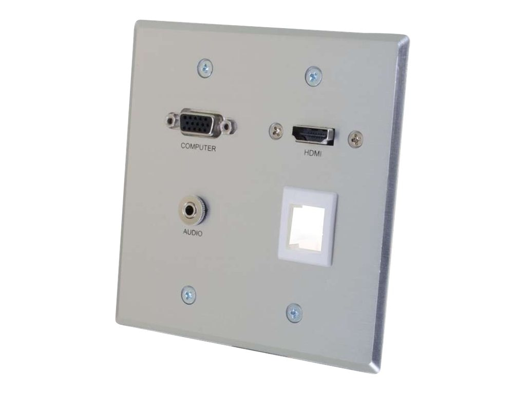 C2G RapidRun VGA + 3.5mm Audio Double Gang Wall Plate with HDMI Pass Through + One Keystone, 60117, 16919791, Premise Wiring Equipment