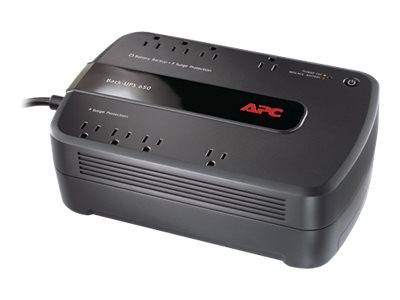APC Back-UPS 650 650VA 390W 120V NEMA 5-15P Input 5ft Cord (8) 5-15R Outlets, BE650G1