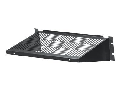 Black Box Rackmount Vented Fixed Shelf, 12d, 35 lbs. Capacity, Black
