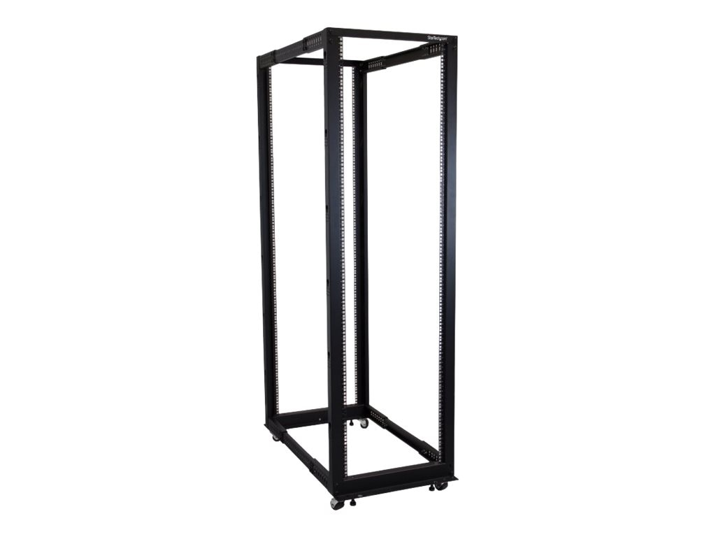 StarTech.com Adjustable Depth Open Frame 42U 4-Post Server Rack Cabinet, Black, 4POSTRACK42, 16736987, Racks & Cabinets