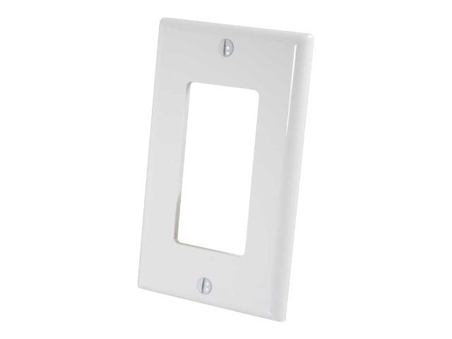 C2G Leviton Decora Single Gang Wall Plate, White, 40345, 15070036, Premise Wiring Equipment