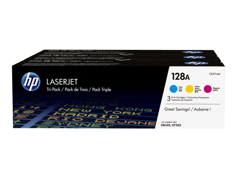 HP 128A (CF371AM) 3-pack Cyan Magenta Yellow Original LaserJet Toner Cartridges