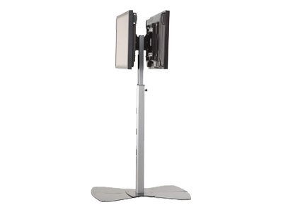 Chief Manufacturing Medium Flat Panel Dual Display Floor AV Stand for 30-55 Displays, Silver